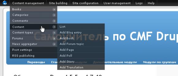 Drupal – Administration menu