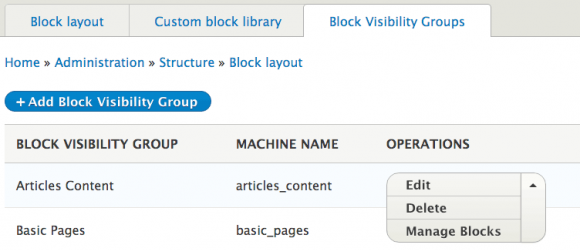 Drupal – Block Visibility Groups