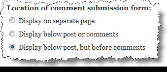 Drupal – Comment form above comments