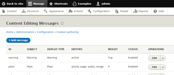 Drupal – Content Editing Messages