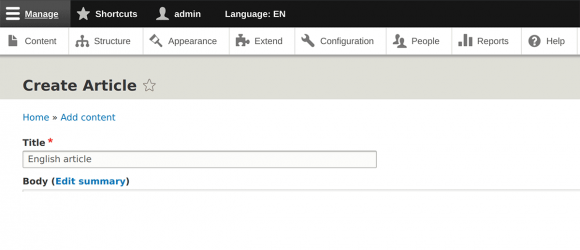 Drupal – Admin Toolbar Language Switcher