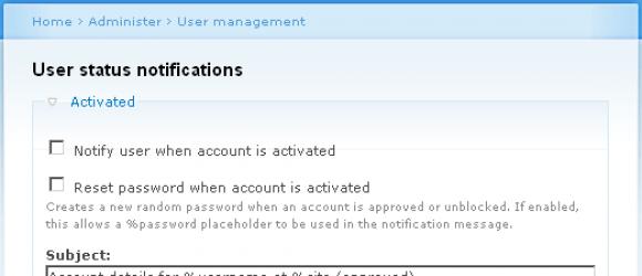Drupal – User status change notifications